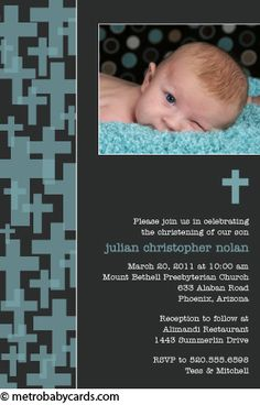 Photo Baptism/Christening Invitations :: Retro Cross Blue Design