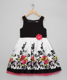 Take a look at this Black & Pink Bold Floral Dress - Girls Plus on zulily today!