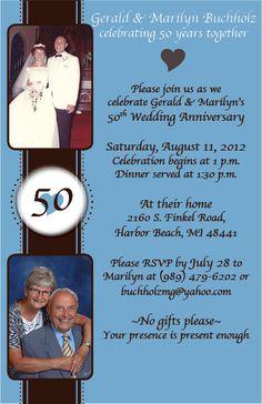 50th Anniversary invite for @Ashley Buchholz grandparents