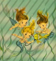 vintage mermaid art | Vintage Mermaids Nautical 111 Clip Art Image
