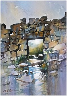the morne wall by Thomas W. Schaller Watercolor ~ 22 inches x 15 inches