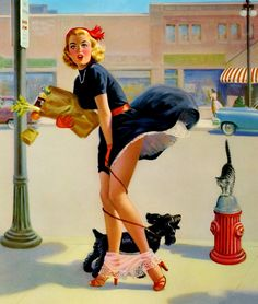 Art Frahm-The Shake-Down Pinup Girl Canvas//Paper Print