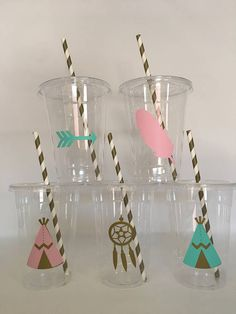 These are great for any pink and gold party. Each cup is 16 oz. and made from a sturdy disposable plastic. These are decorated with light pink and gold vinyl stickers and come with matching paper straws and lids. These are perfect for small children who easily spill. You can also stuff