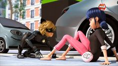 Miraculous Ladybug. Looks like Chat Noir is about to pounce on Marinette <3