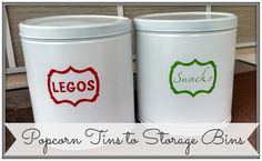 60 Trendy Ideas For Food Storage Bins Popcorn Tins Storage Bin Shelves, Craft Storage, Food Storage, Storage Organization, Organizing, Recycled Gifts, Upcycled Crafts, Popcorn Tins, Legos