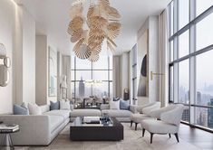 Stunning all white and gold modern style penthouse living room decor with white modern sectional sofa Elegant Living Room, Living Room White, Elegant Home Decor, Living Room Lighting, Living Room Decor, Living Rooms, Sectional Sofa, Modern Sectional, Luxury Decor
