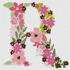 The Letter R Flowering Needlepoint Kit Pepita