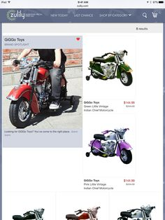 Were u looking for the little vintage Indian motorcycle in #pink or #green?  @zulily has them in sale now!