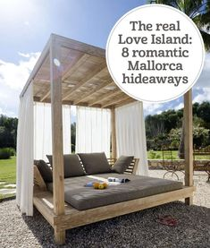 With the eyes of the nation glued to this year's Love Island escapades, it seems a good moment to share our favourite Mallorca hideaways Outdoor Daybed, Diy Outdoor Furniture, Outdoor Lounge, Pallet Furniture, Outdoor Spaces, Outdoor Living, Outdoor Bedroom, Outdoor Fire, Backyard Patio Designs