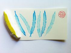 feather rubber stamp. bird feather. hand carved rubber stamp. handmade.