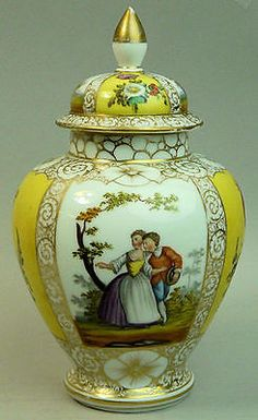 3 of 6: ANTIQUE DRESDEN HELENA WOLFSOHN HAND PAINTED FINE PORCELAIN VASE & COVER C.1890
