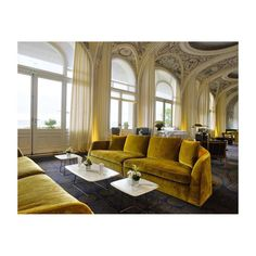ALFRED sofas of the Flexform MOOD collection furnish the lounge area of the prestigious Hôtel Royal Evian in France. Evian Les Bains, Palace, Yellow Sofa, Hotel Restaurant, Living Spaces, Living Room, Interior Decorating, Interior Design, Hotel Interiors