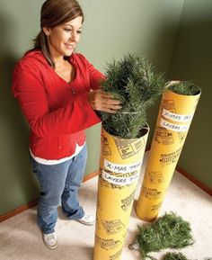 Store artificial Christmas tree in a concrete form tube, hang lights from deck with picnic tablecloth clips and other great holiday hacks! Love the paper towel holder for twine, ribbon,  and tape- I might just do that in my pantry for year-round!   Sorry, but the link doesn't go where we thought.  Just use the picture for a good idea.