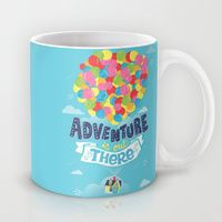 Coffee Mugs featuring Adventure is out there by Risa Rodil