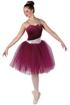 Style# 17350 WONDERFUL TONIGHT Burgundy glitter misted velvet leotard with silver sequin on white spandex insert, attached burgundy tulle tutu and adjustable nude elastic straps. Sequin applique trim. SC-XXLA A61R/041-Small rhinestone tiara, optional.