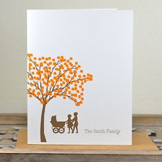 Baby Thank You Cards, Thank You Cards, Birth Announcements, Baby Announcements, Silhouettes, New Sibling, New Baby, Tree, Baby Carriage