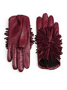Maison Fabre Pom-Pom Leather Gloves