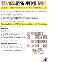Free Thanksgiving Match Game...