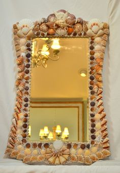 Shell Mirrors, Seashell Mirrors, Sealife Mirrors by Heather Kendall Design - Heather Kendall * Shell Mirrors * Shell Chandeliers * Shell Décor * Shell Designs * Call Seashell Frame, Seashell Art, Seashell Crafts, Beach Centerpieces, Seashell Projects, Shell Chandelier, Shell Decorations, Mother Day Wishes, Coral