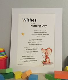 Wishes on your Naming Day illustrated poem for by AllyPallyPoems