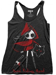 "Women's ""Dead Riding Hood"" Loose Tank by Akumu Ink (Tri-Blend Black)"