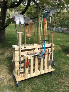 Don't let an avalanche of shovels and rakes happen to you! These genius garden tools storage bag solutions will get that shed or garage organized easily. Whether you're looking for a simple way to get that leaf blower and string trimmer off the floor, or how to corral all those hand tool #GardenTools #DIY #Shed #PVCPipe #GardenRack #GardenIdeas #storageforgardentoolsuk