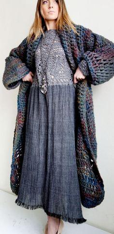 Oversize Crochet coat and dress