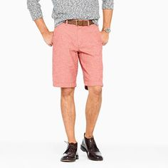 Club short in red chambray