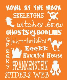 #HalloweenDIY Subway art #printables in several colors and styles by Free Time Frolics, featured at printabledecor.net