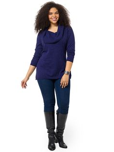 Ribbed Cowl Neck Sweater In Indigo by Lima, Available in sizes 0X-5X
