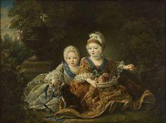 """Duque de Berry (futuro Luis XVI)-à direita; Conde de Provença (futuro Luis XVIII). (by François-Hubert Drouais)."