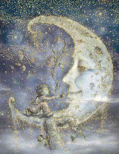illustration by James Christopher Carroll, sparkle added Sun Moon Stars, Sun And Stars, Moon Dance, Moon Pictures, Good Night Moon, Moon Magic, Beautiful Moon, Illustrations, Moon Art