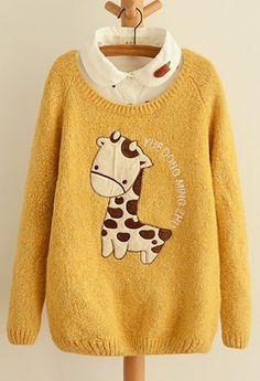 Cute Giraffe Embroidery Applique Sweater