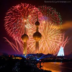 Fireworks at Kuwait Towers Fireworks Festival, Fireworks Displays, New Year's Eve Around The World, Kuwait National Day, Firework Colors, Night Skyline, Fire Works, Beautiful Sites, Pretty Art