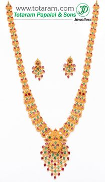 Totaram Jewelers: Buy 22 karat Gold jewelry & Diamond jewellery from India: Rubies & Emeralds Sets