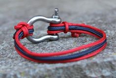 nautical blue red paracord rope bracelet