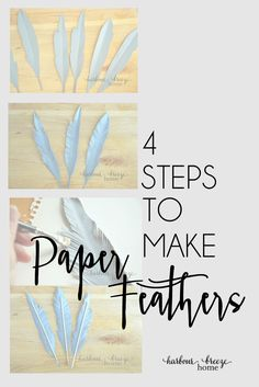 Simple Handmade Paper Feathers |in just 4 simple steps, you can create some trendy decor for your home! Click through to read the instructions at harbourbreezehome.com