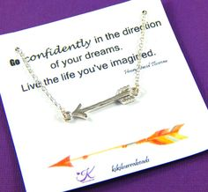 Arrow Necklace, Graduation Gift, Silver Arrow Necklace, Inspirational Quote Necklace, High School Graduation  A fine silver plated lead and nickel