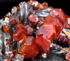 Blood-Red Vanadinite on Baryte w/ Manganese - Fine Mineral Specimen from Morocco