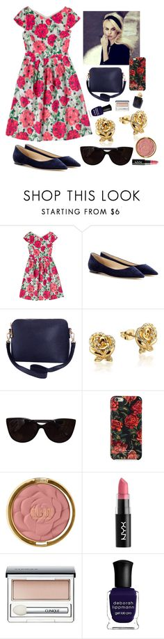 """Cath Kidston Dress"" by nicole231 ❤ liked on Polyvore featuring Jimmy Choo, Humble Chic, Duffy, Disney, Tiffany & Co., Isaac Mizrahi, Milani, NYX, Clinique and Deborah Lippmann"