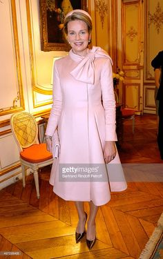 Queen Mathilde of Belgium (wearing Dior) attends her and King Philippe of Belgium visit the Residence of the Ambassador of Belgium during a One Day Official Visit on February 6, 2014 in Paris, France.