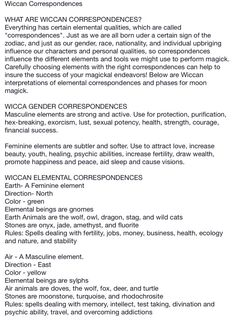 Wiccan correspondences 1 - Pinned by The Mystic's Emporium on Etsy