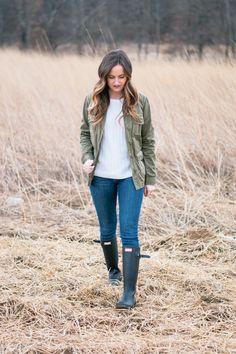 Outfit Details:   Current Elliot jacket (old, similar ), Gap sweater , Frame denim , Hunter boots