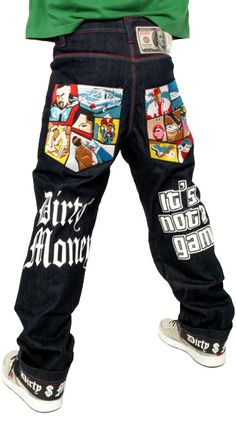 DIRTY MONEY MENS BOYS BAGGY LOOSE FIT STYLE JEANS TIME IS LONG HIP HOP WEAR