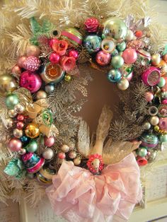 Gorgeous wreath made from vintage ornaments