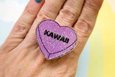 Kawaii Conversation Heart Ring