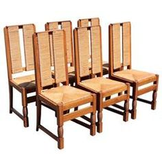 French Art Moderne Set of Six Side Chairs by Victor Courtray