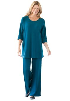 Plus Size Tunic top and pants set in soft knit image