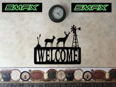 Deer welcome sign house number sign windmill by SCHROCKMETALFX
