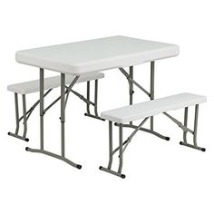Flash Furniture DAD-YCZ-103 40 in. Rectangle Folding Table and Benches Outdoor Store [gallery]  Impressively sturdy, this Flash Furniture DAD-YCZ-103 40 in. Rectangle Folding Table and Benches includes a spherical, business-grade design. Made of robust plastic and metal, it additionally has foldable legs for convenient storage choices. Dimensions: 41L x 25.5W x 28.50H in.. Set with table and two benches. Metal and plastic development. Benches retailer beneath…